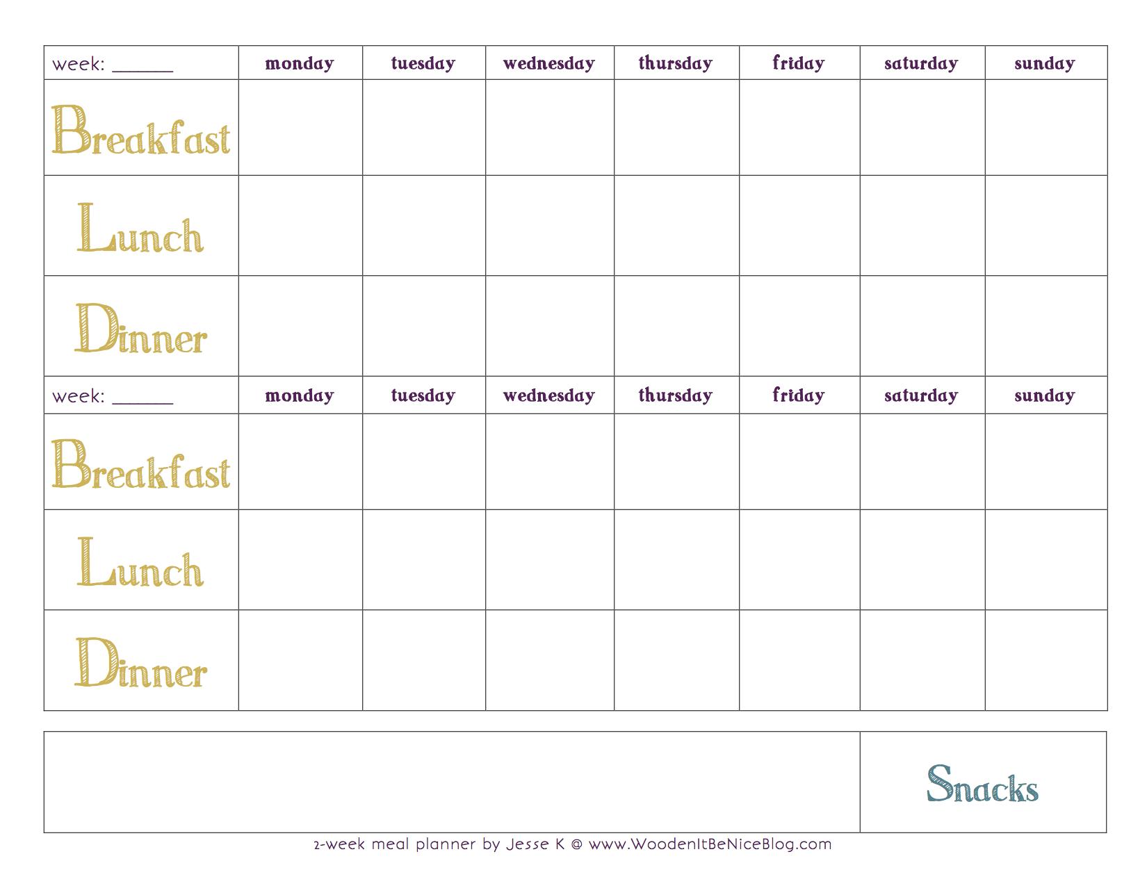 Printable calendar 2017 monthly cute disney for Two week meal plan template